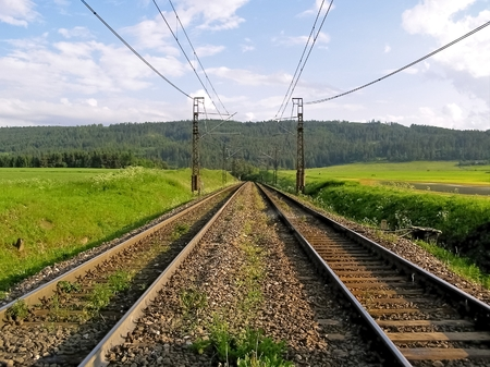 While walking in the spring of camera recorded imagecountry and railways  photo