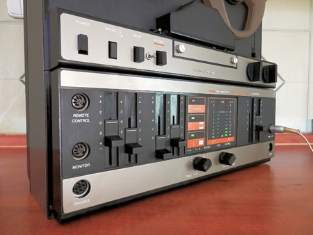Photo of old tape deck panel with LED display level audio signal photo