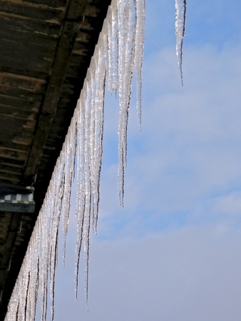 affecting: Photo during winter when temperatures affecting the formation of icicles and snow.