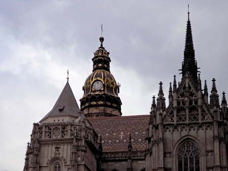 the believer: Historical Buildings Catholic church St.Elizabeth in Kosice and its towers.
