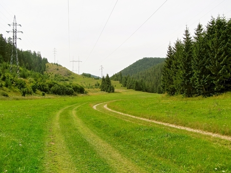 brings: Path walkway for relaxation Brings people in the mountains and nature. Stock Photo