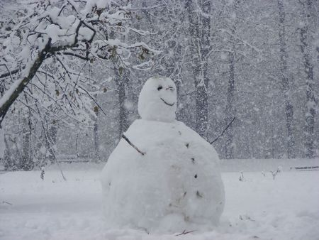 A smiling snowman in a white landscape