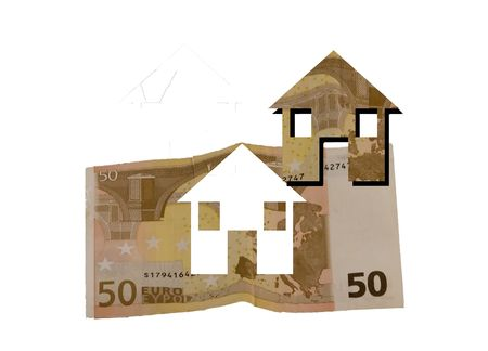 subprime: A piece of banknote flies away in form of house