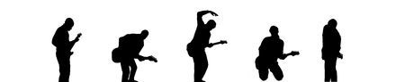 music figure: Silhouette of guitar rock band with five guitarists Stock Photo