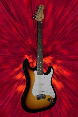 Electric guitar on red background