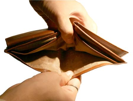 An empty leather wallet Stock Photo