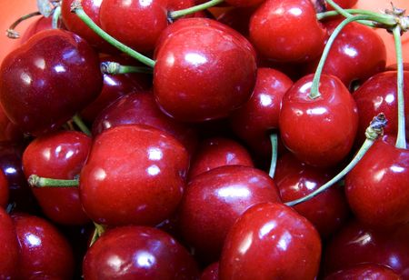 Close up of a bunch of red cherries