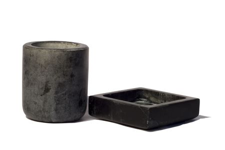 Two containers in stone for bathroom, on white background photo
