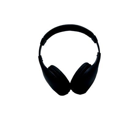 Black wireless headphones on a white background Stock Photo