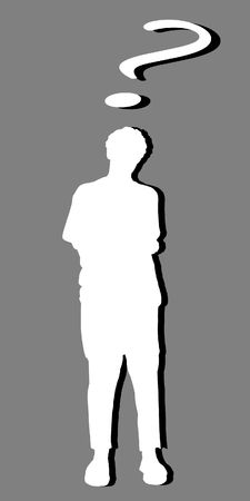 White silhouette of a man and a question mark, with black shadow Stock Photo