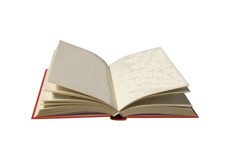 A book with red cover and whit white pages