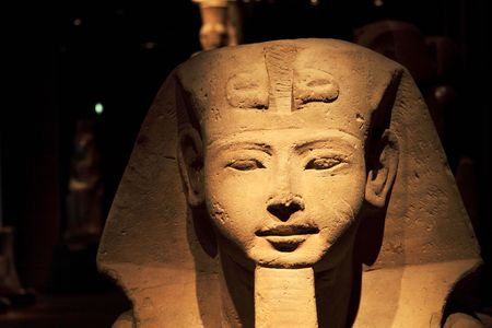Closeup of the face of an Egyptian Statue Stock Photo