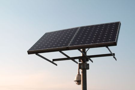 pollution free: Closeup of a solar panel, blue sky Stock Photo
