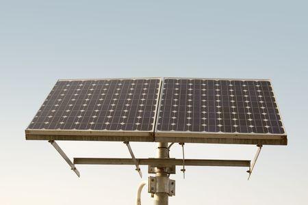 Closeup of a solar panel, blue sky Stock Photo - 5229698