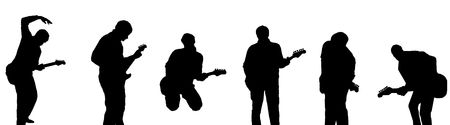 Silhouettes of six guitar players Stock Photo - 5326638