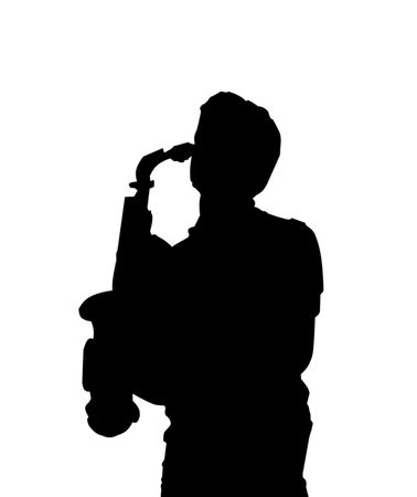 Silhouette of a sax player Stock Photo