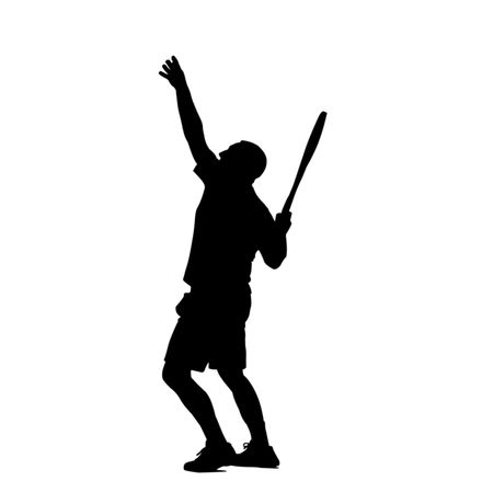 Black silhouette over white of a tennis player Stock Photo