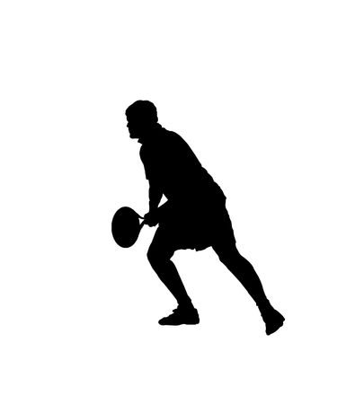 Silhouette of a tennis player over white background Stock Photo - 5513951