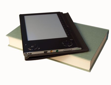 A book and an eBook reader over white Stock Photo - 5684004