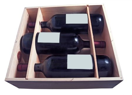 Three bottles of red wine horizontal in a wooden box Stock Photo