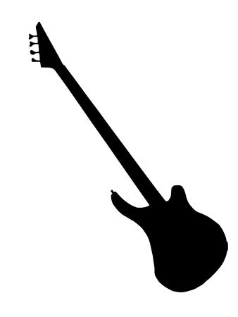 Black silhouette of bass guitar on white background