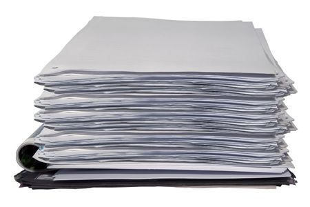 A big stack of papers isolated on white