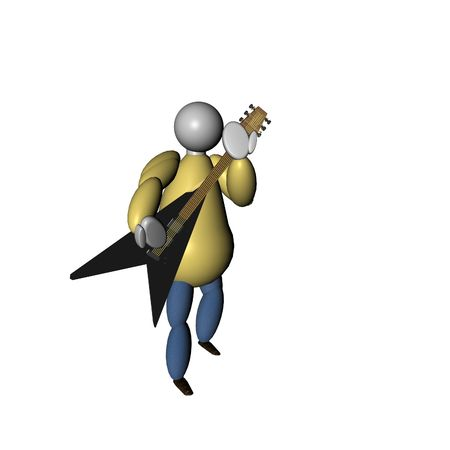 3D Puppet playing guitar over white background