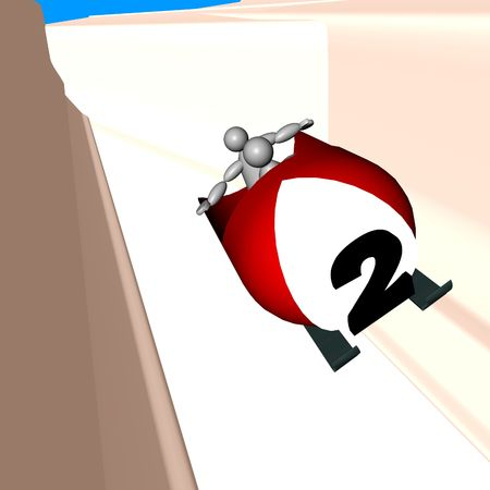 bob: 3D Puppet in bob race, vectorial illustration Stock Photo