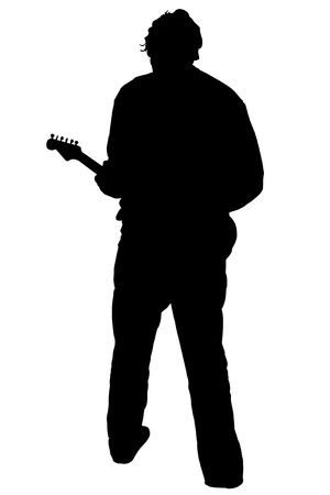 Black silhouette of a playing guitarist, on white background photo