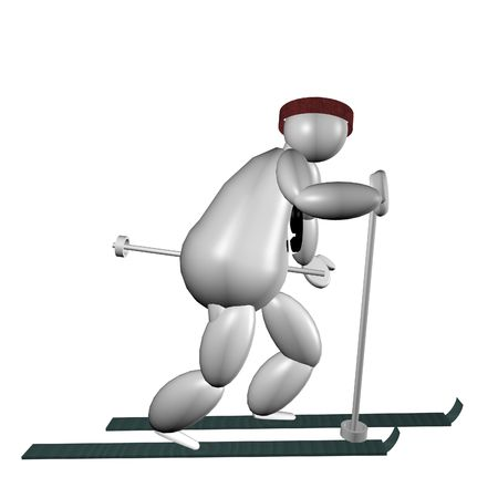 cross country skiing: 3D Puppet doing cross country skiing over white background Stock Photo