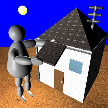 rooftop: 3D puppet putting solar panel on rooftop of his house