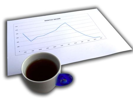 decreasing: Cup of coffee near a decreasing graphic over white with shadows