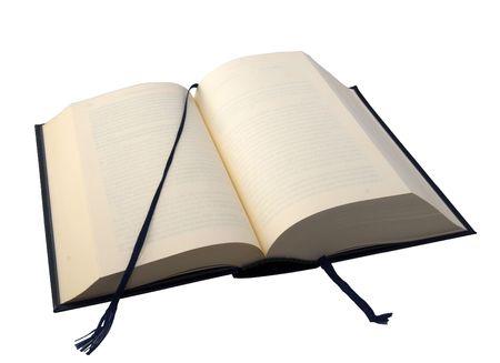 marcadores de libros: Un libro abierto con marcadores sobre fondo blanco
