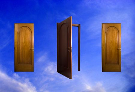 Three doors in the sky, the central one open