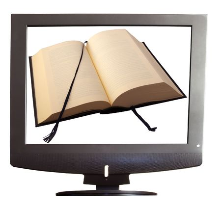 An open book within a tv screen over white background photo