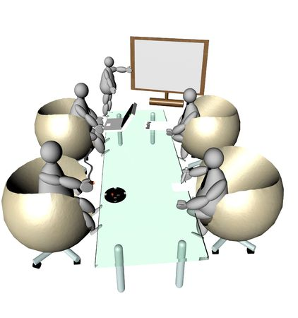 A business meeting of 3D puppets, one explaining at board and four others listening and doing other things sitting at the glass table