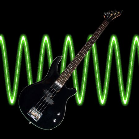 Electric bass over a black background with sound waves