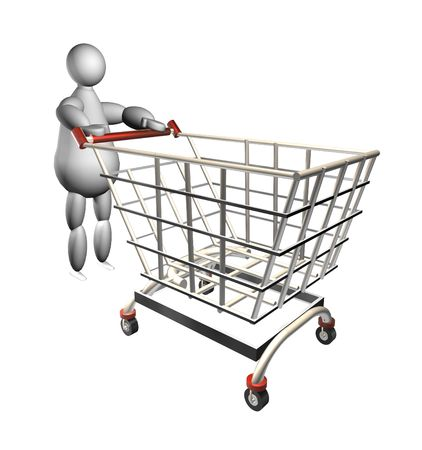 3D puppet pushing a shopping cart over white background