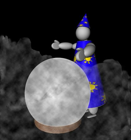 wizardry: 3D puppet Wizard with blue dress reads future on a big crystal ball, surrounded by smoke, over black background