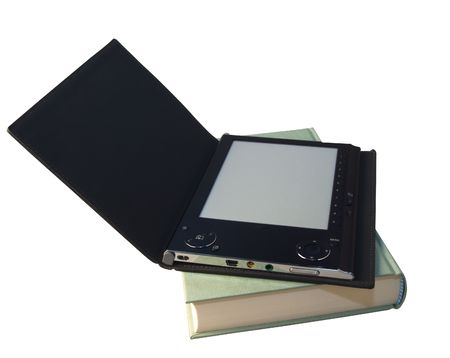 An eBook reader with open cover over a book