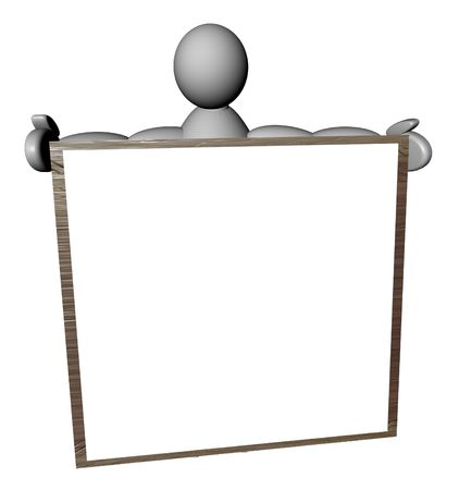 3D puppet with a blank cartel on white background photo
