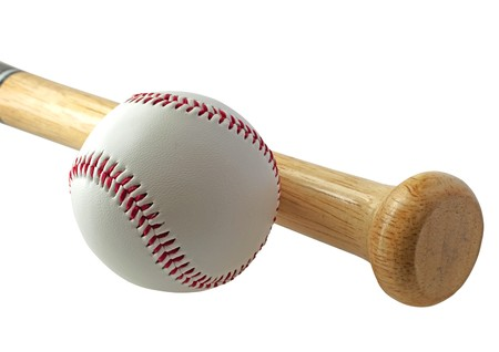 A baseball near a bat on white background
