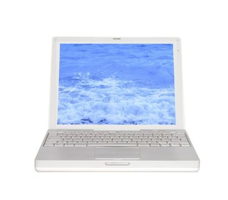 White laptop, with sea on screen, over white photo