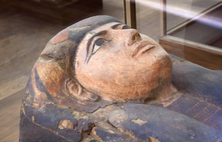 The face of an egyptian sarcophagus in Turin Egpytian Museum