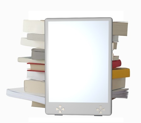 3D render of a fantasy model of eBook reader, leaning to a pile of books