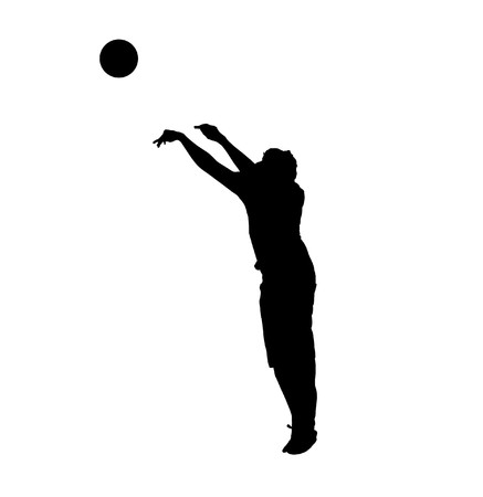 Black silhouette of basketball player over white Stock Photo