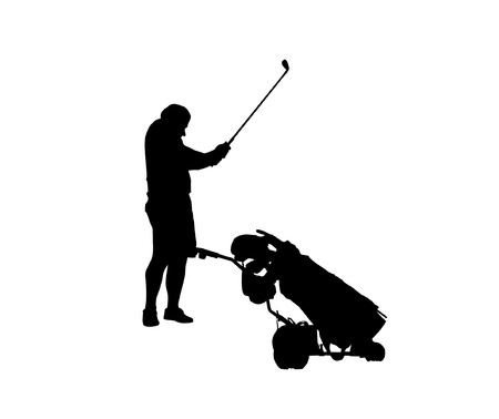 caddy: Black silhouette of a golf player with caddy for clubs