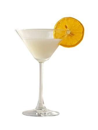 Italian dessert sorbetto with slice of lemon, in an elegant glass, isolated over white
