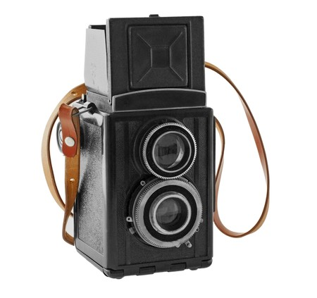 Wonderful old black camera with leather belt Stock Photo - 7691381