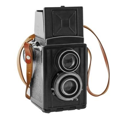 Wonderful old black camera with leather belt Stock Photo - 7691381